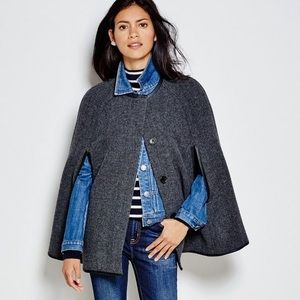 J.CREW 🖤 Black and Grey Wool Button Cape
